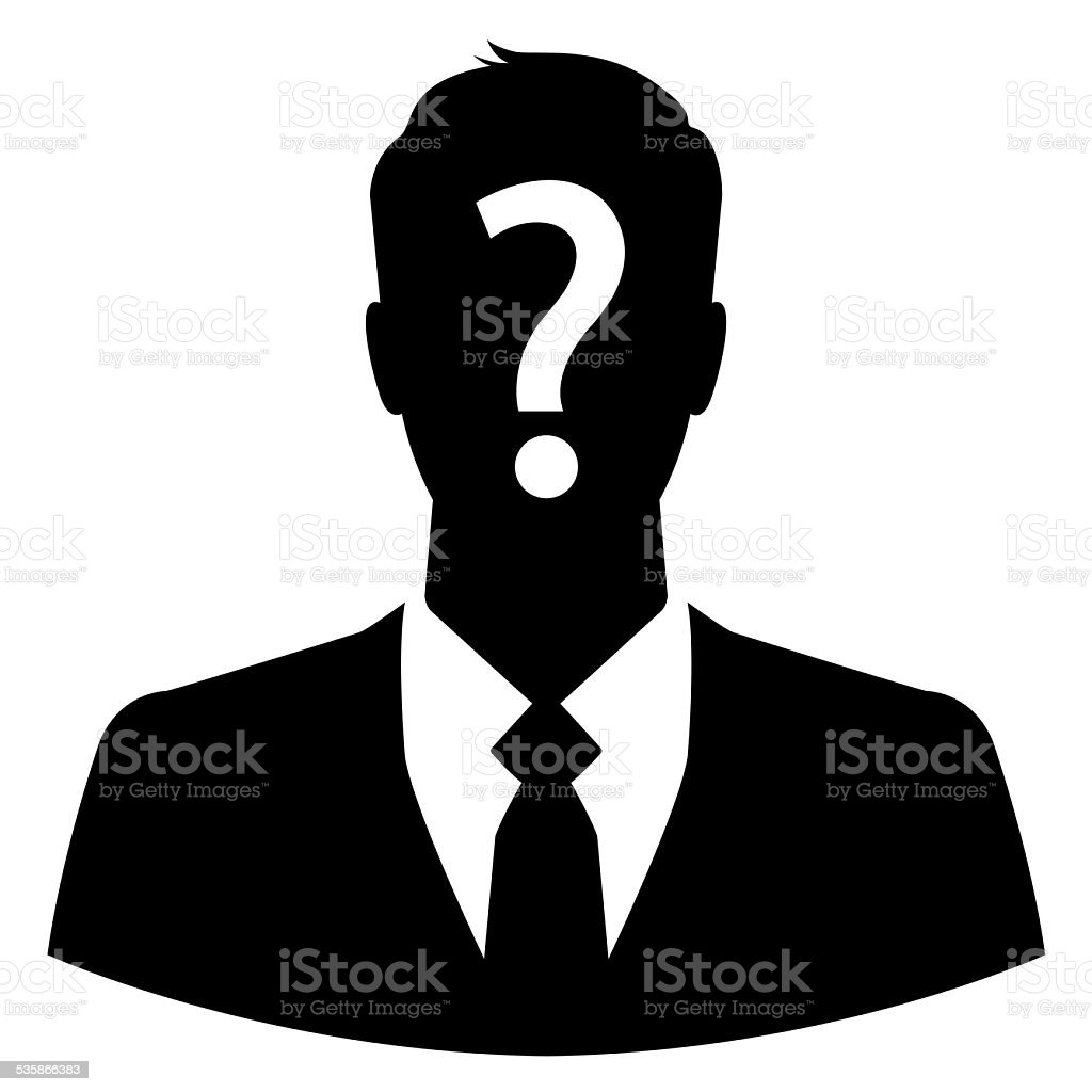 Businessman icon with question mark on his head stock photo