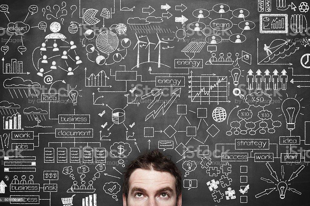 Businessman Idea Concept on blackboard stock photo