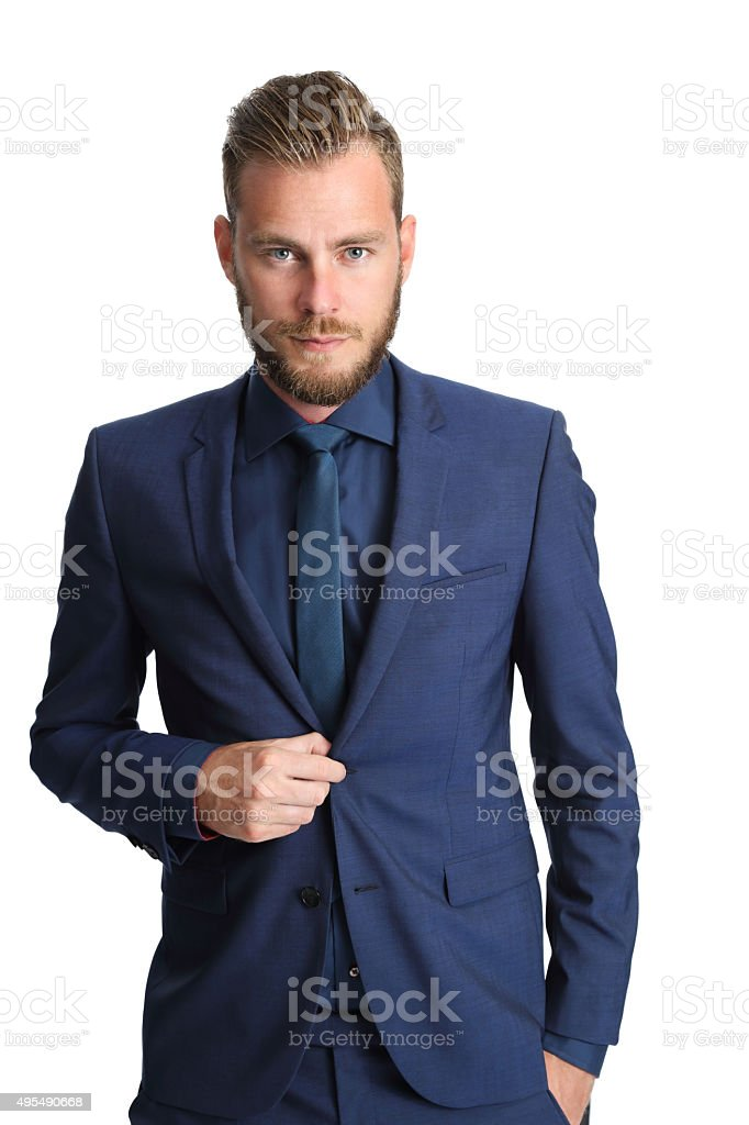 Businessman in a blue suit and tie stock photo