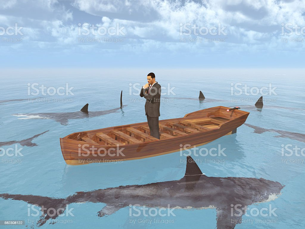 Businessman in a boat surrounded by sharks stock photo
