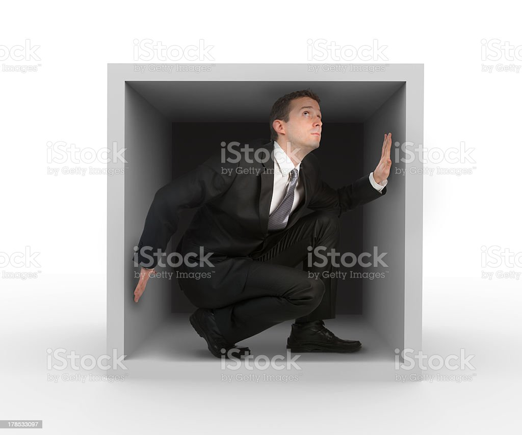 Businessman in a box royalty-free stock photo
