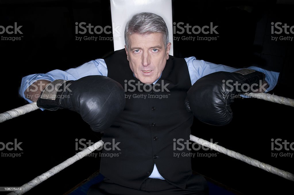 Businessman in a boxing ring with boxing gloves. royalty-free stock photo