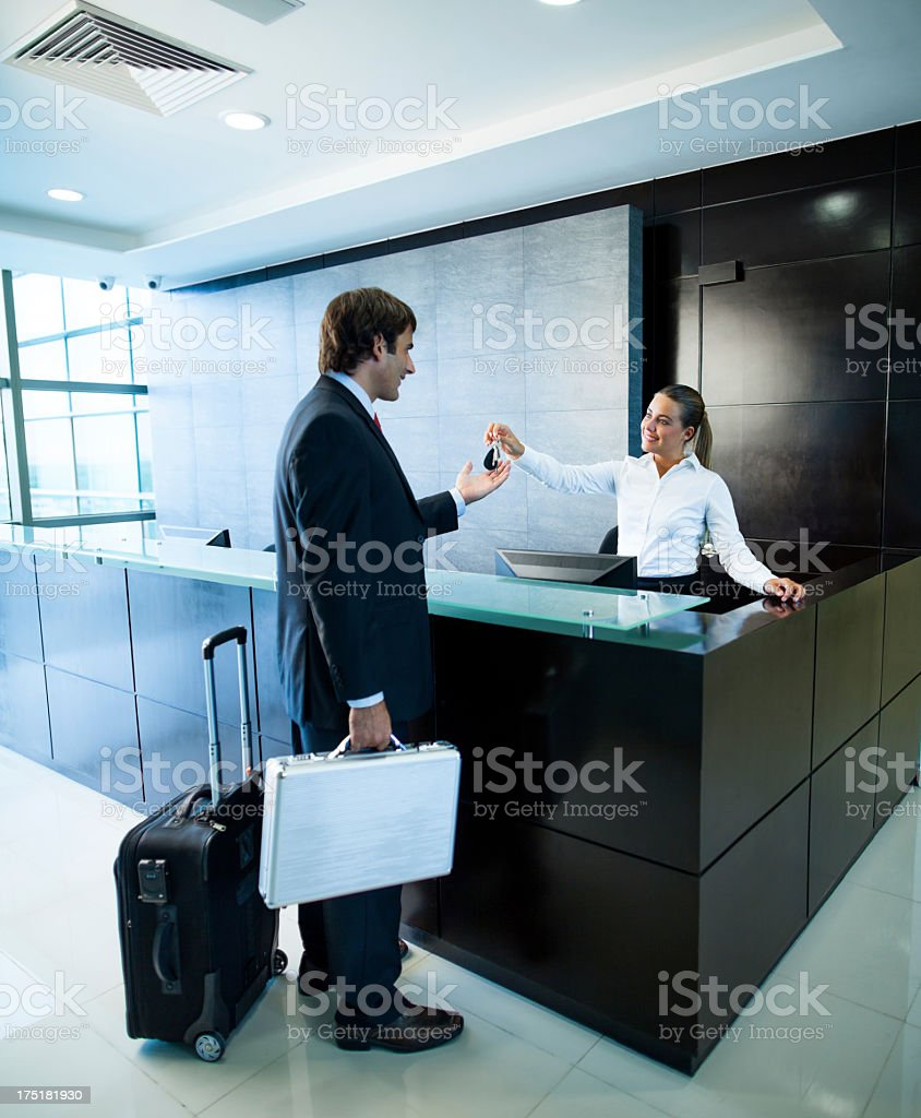Businessman in a business trip royalty-free stock photo