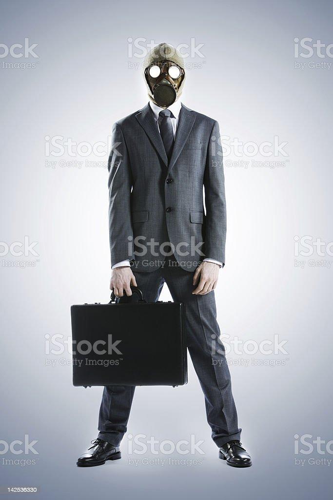 Homme d'affaires dans un Masque à gaz photo libre de droits