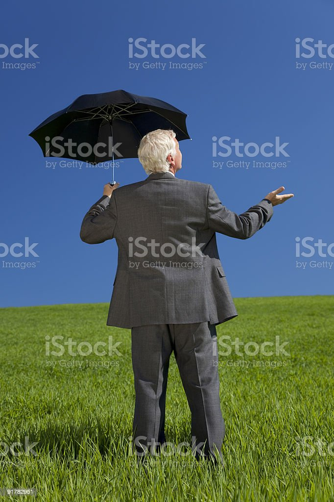 Businessman In A Green Field With An Umbrella royalty-free stock photo