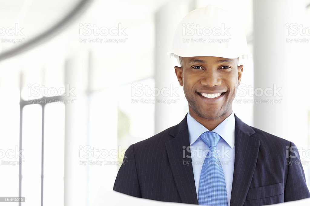 Businessman in a Hardhat royalty-free stock photo