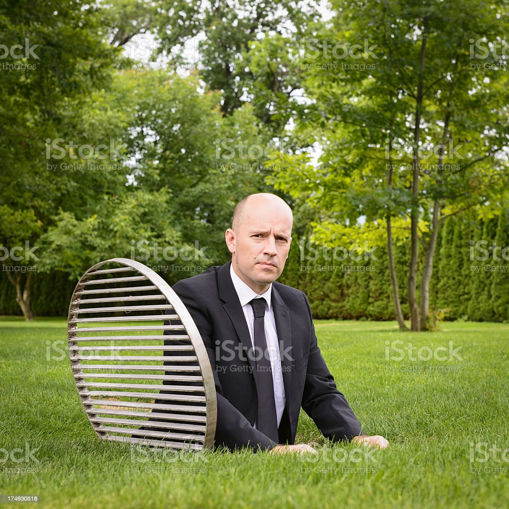 Businessman in a Hole royalty-free stock photo