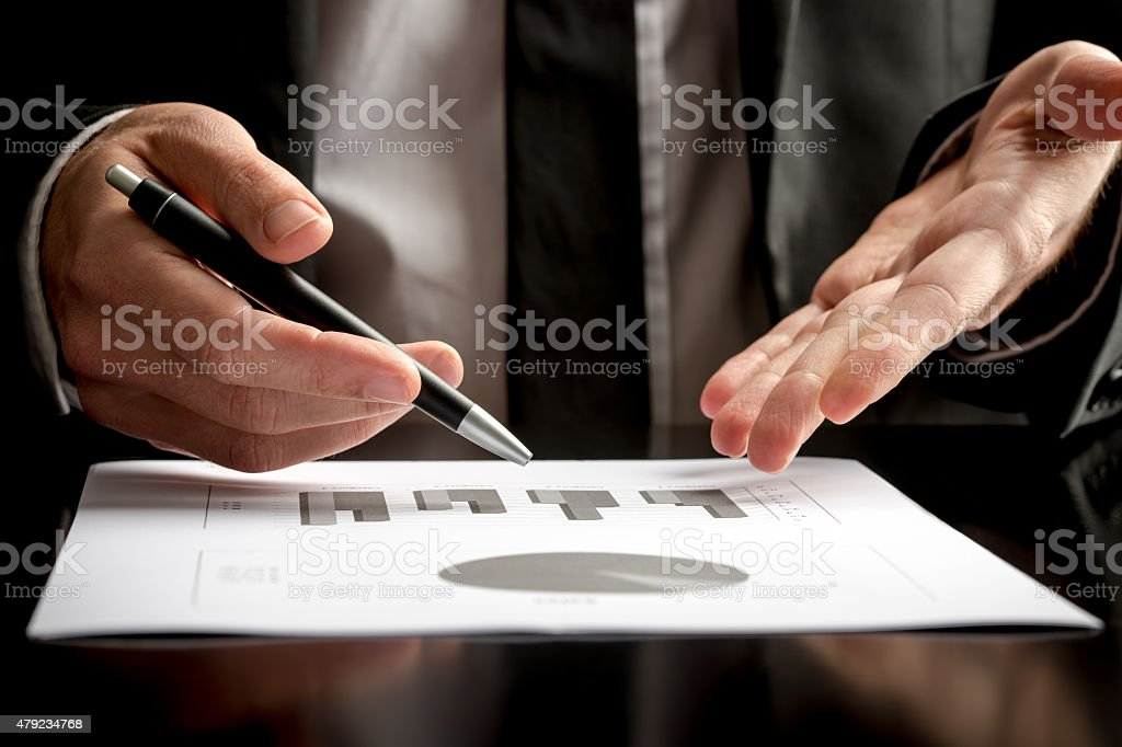 Businessman in a meeting or presentation stock photo