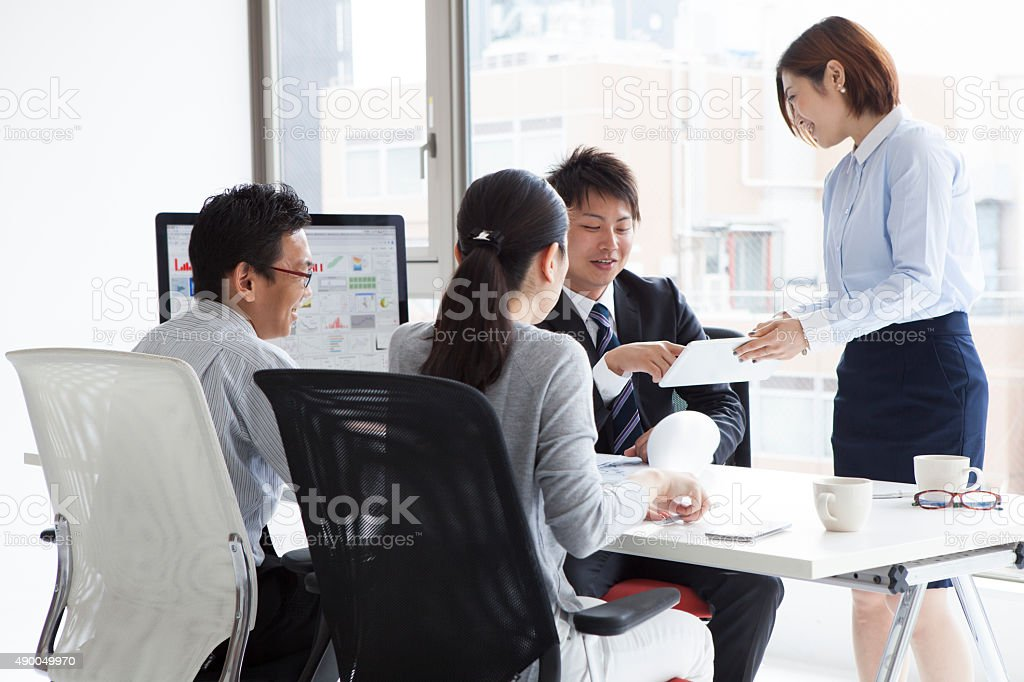 Businessman in a meeting stock photo