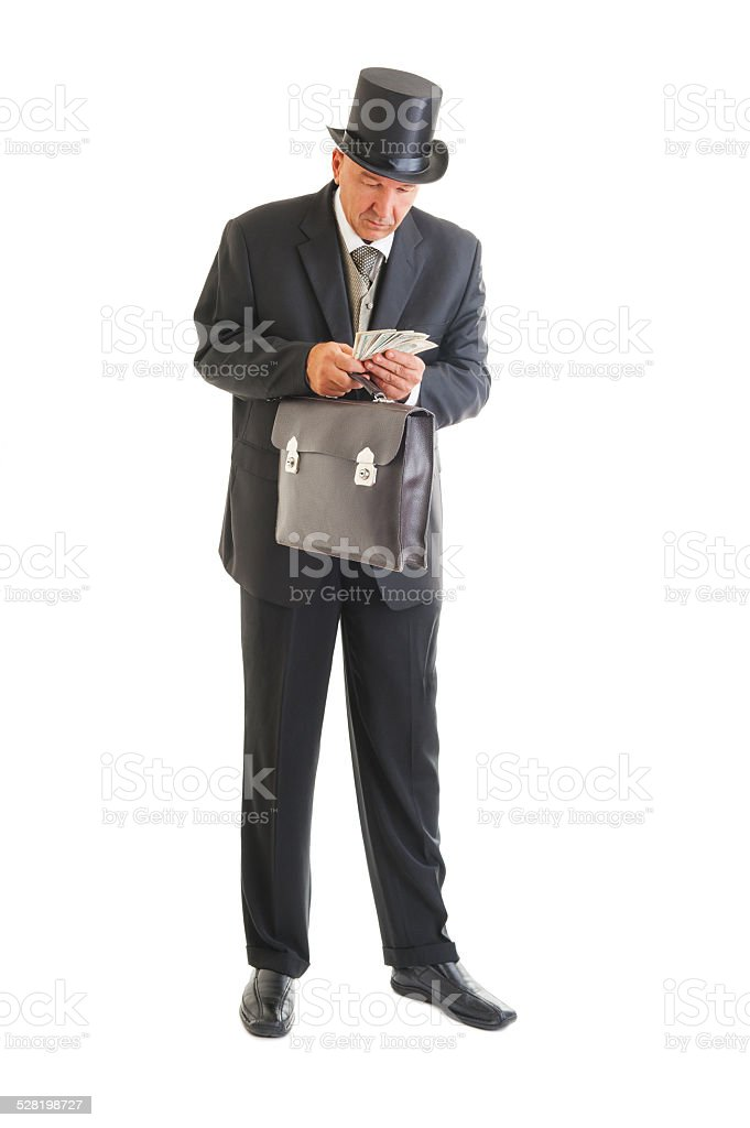 businessman in a retro business suit stock photo