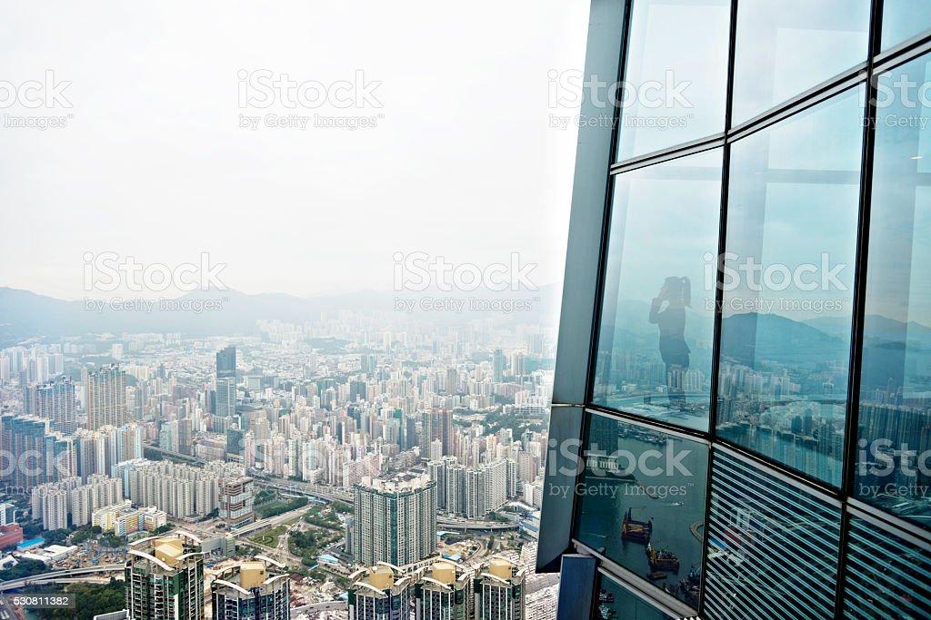 Businessman in a skyscraper stock photo