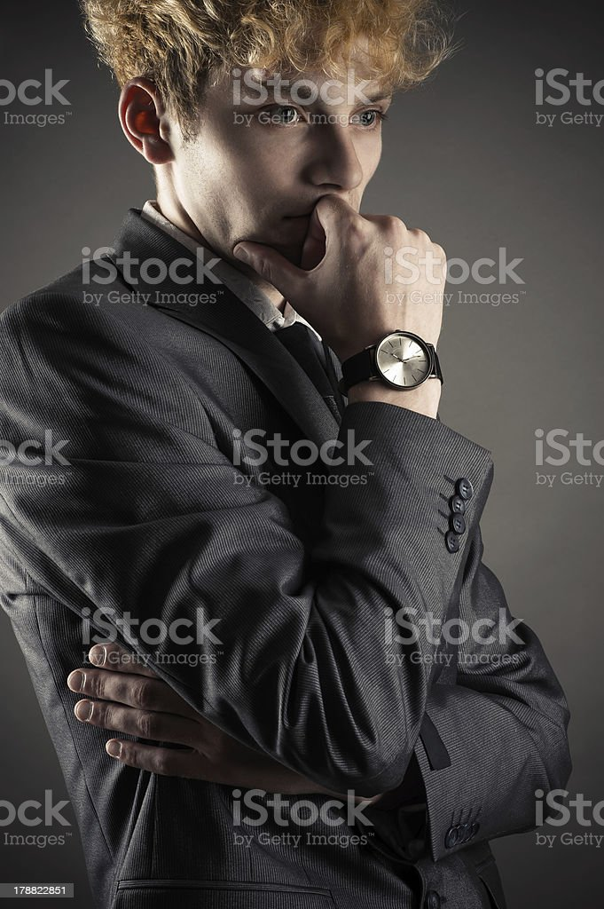 businessman in a strong thoughtfully royalty-free stock photo