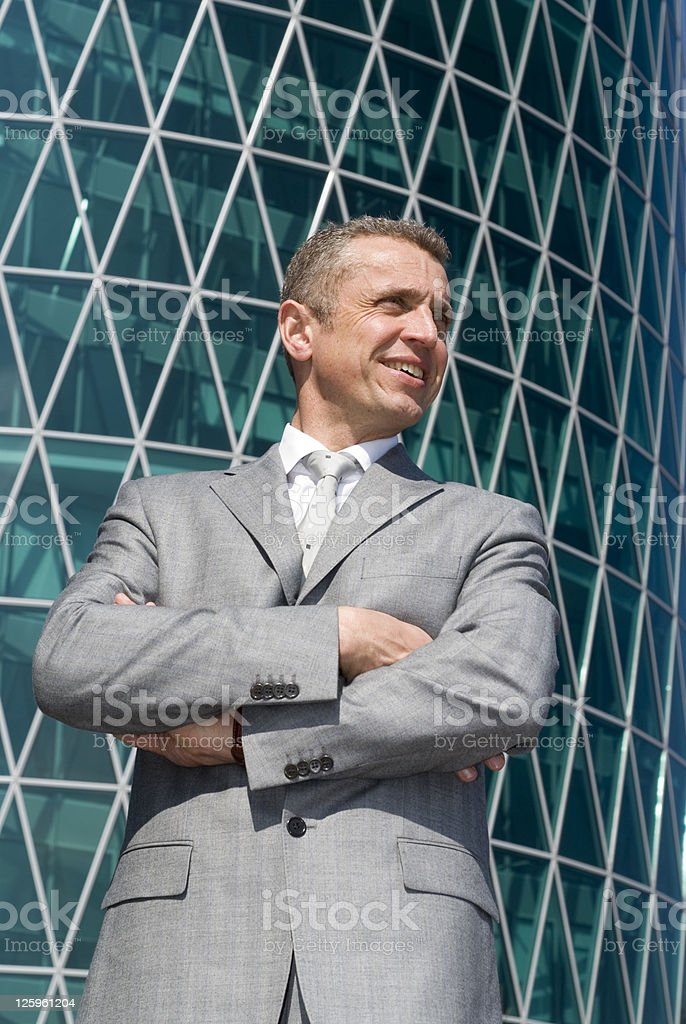 Businessman in a successful mood royalty-free stock photo