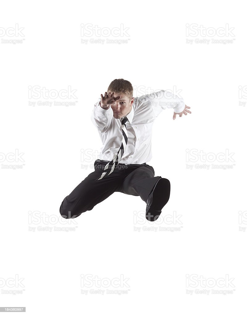 Businessman in action stock photo