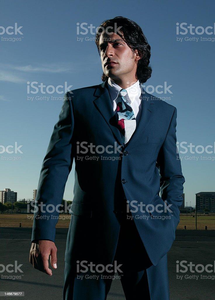 businessman in blue suit stock photo