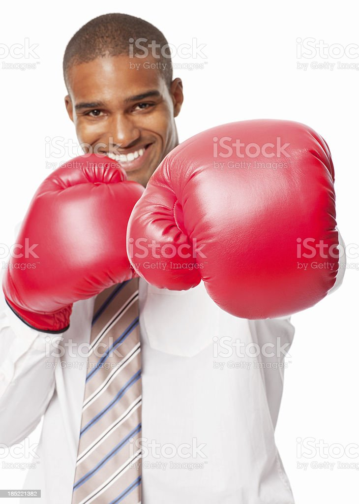 Businessman in Boxing Gloves - Isolated royalty-free stock photo