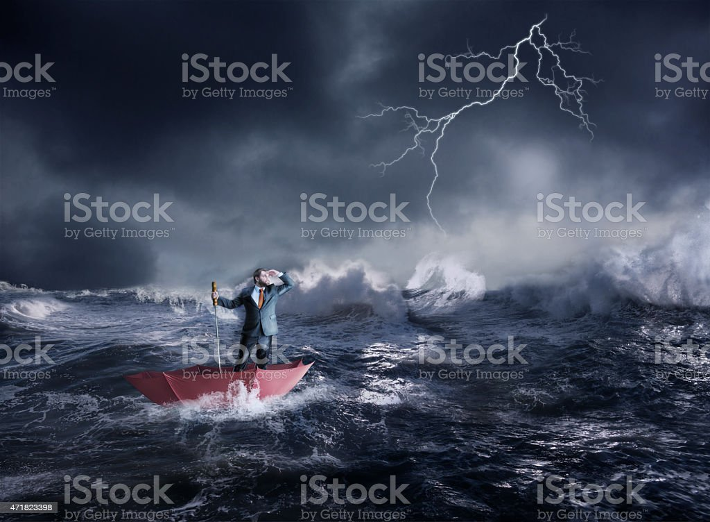 Businessman in crisis stock photo