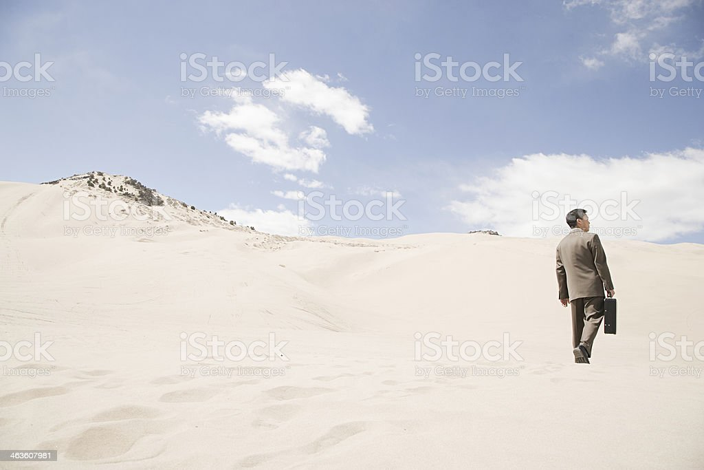 Businessman in desert royalty-free stock photo