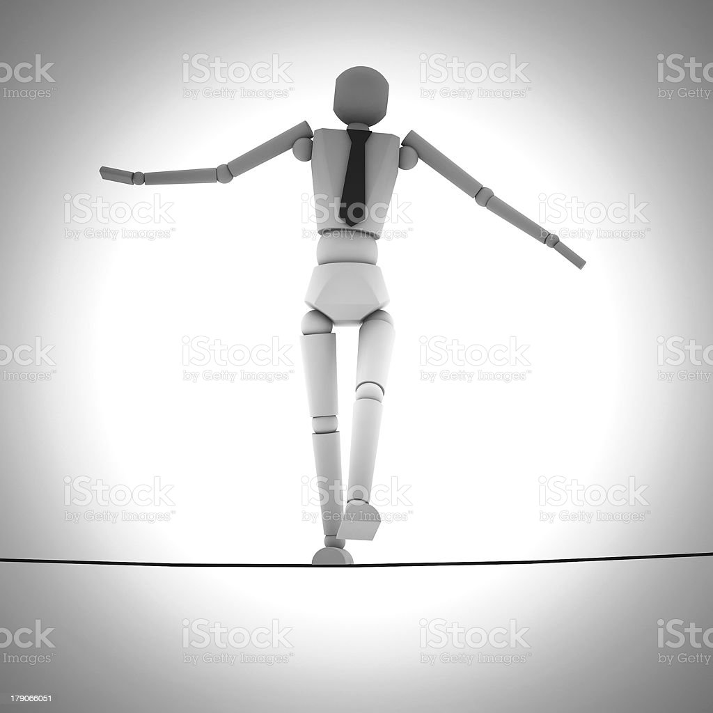 Businessman in equilibrium on a rope royalty-free stock photo