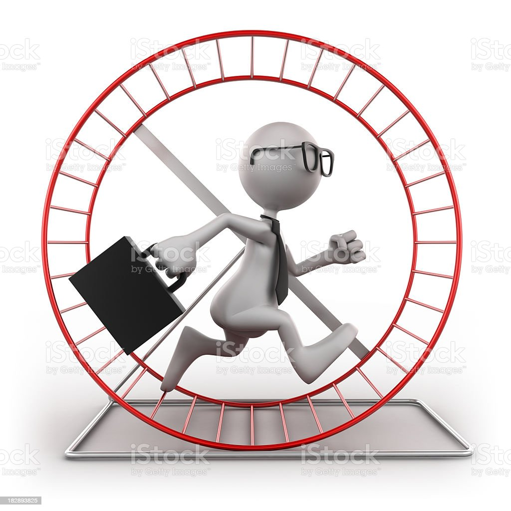 Businessman in exercise wheel, isolated with clipping path stock photo