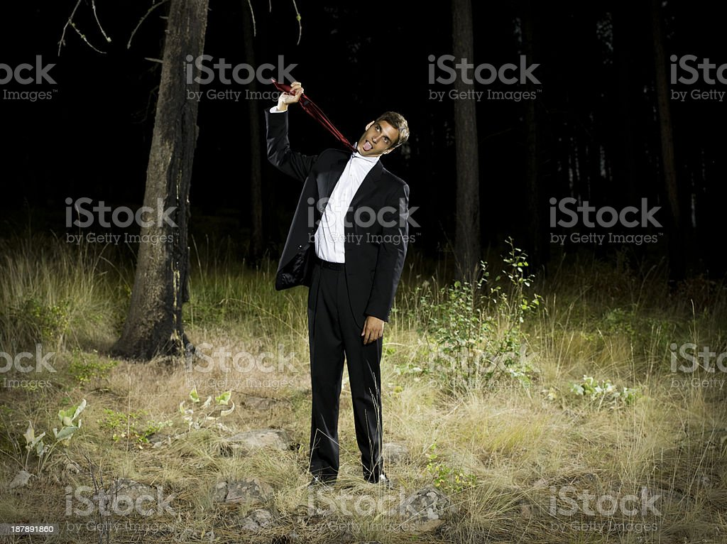 Businessman in Forest stock photo