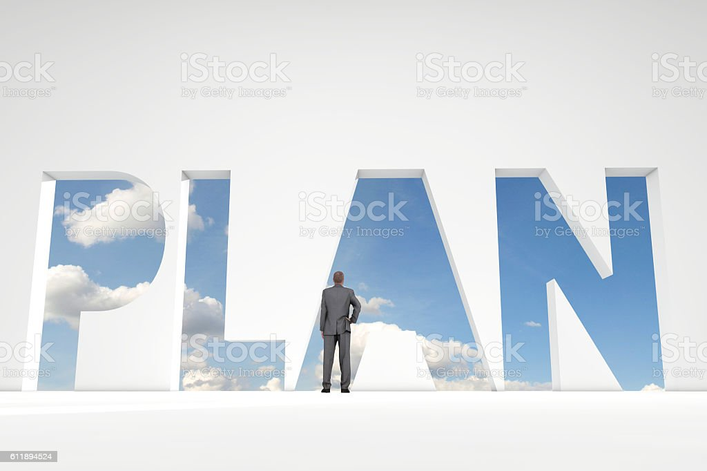 Businessman in front of plan word doorway stock photo