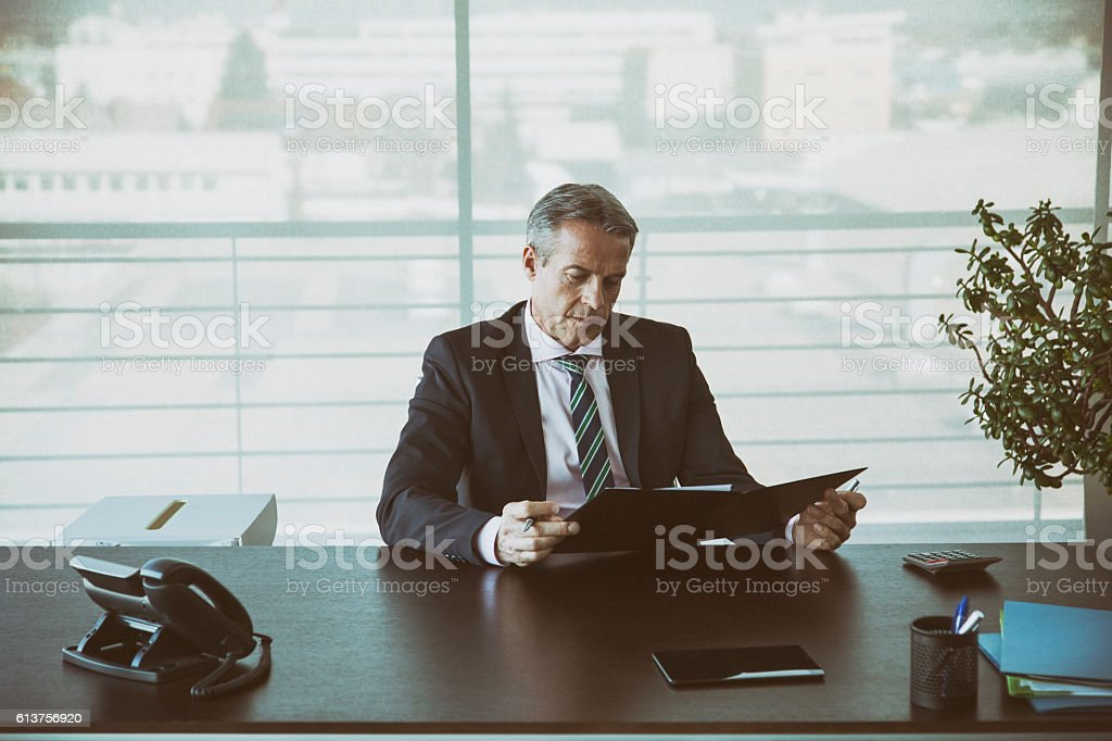 Businessman in his office reading a contract stock photo