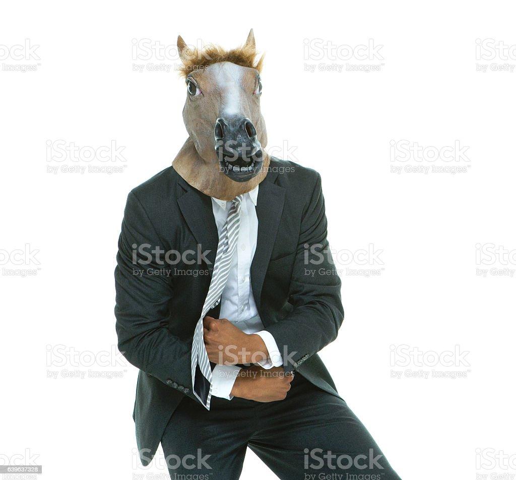 Businessman in horse costume stock photo