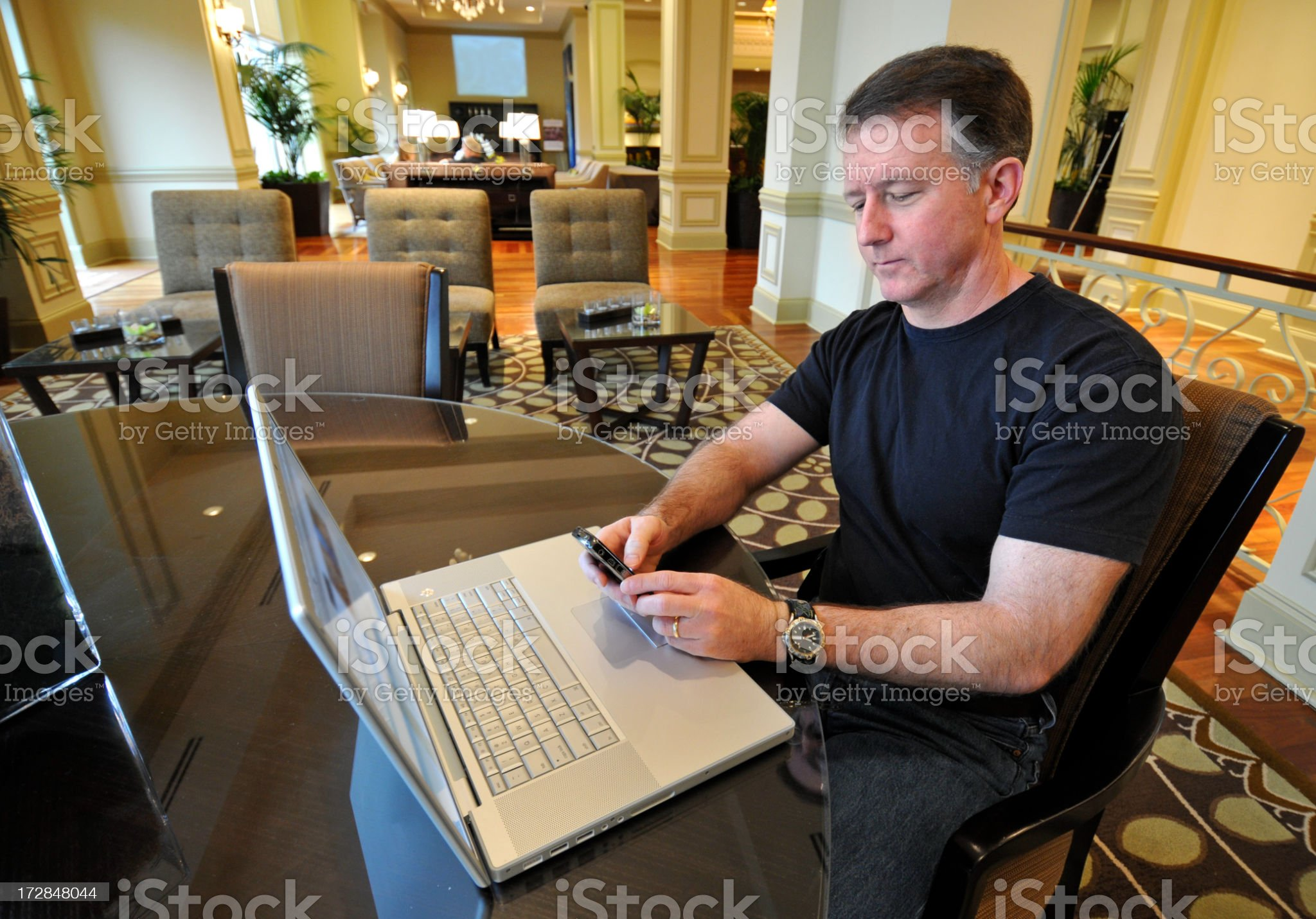 Businessman in Hotel Lobby royalty-free stock photo