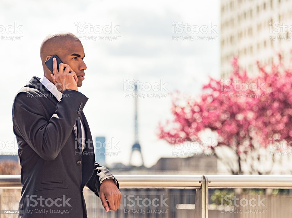 Businessman in La Defense, Paris stock photo