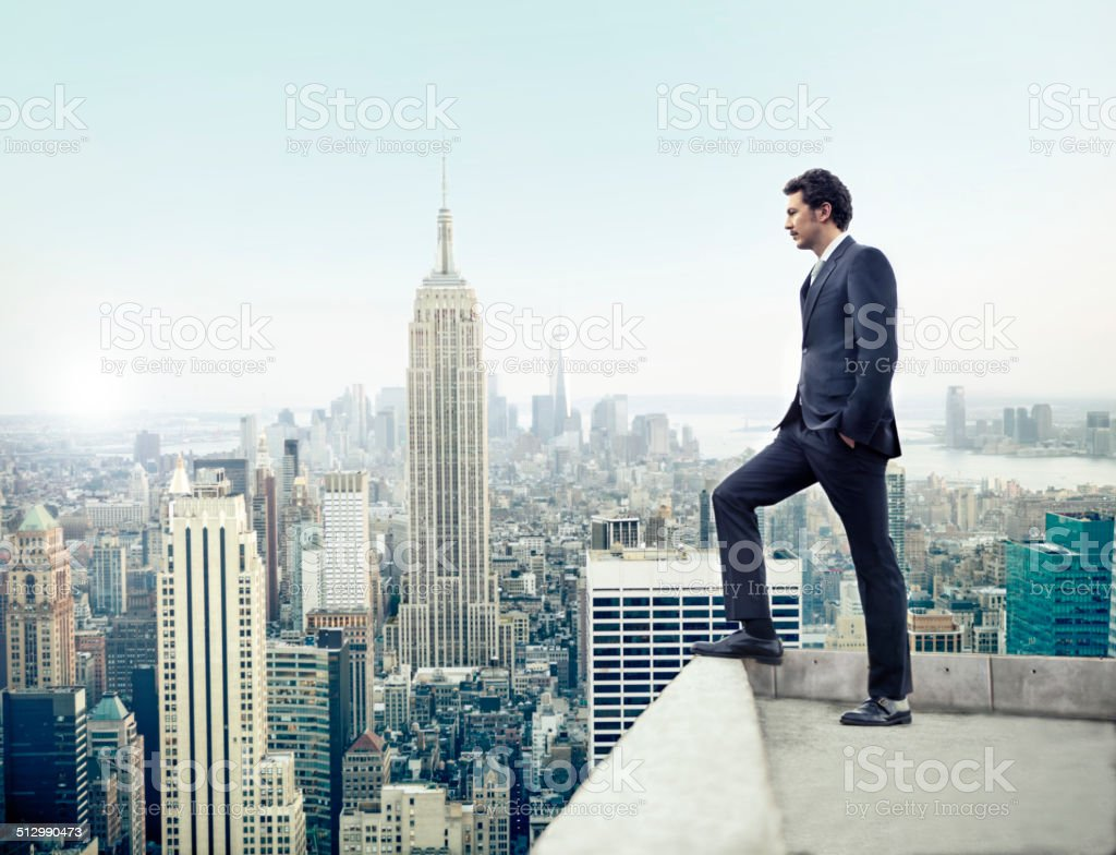 Businessman in New York City stock photo