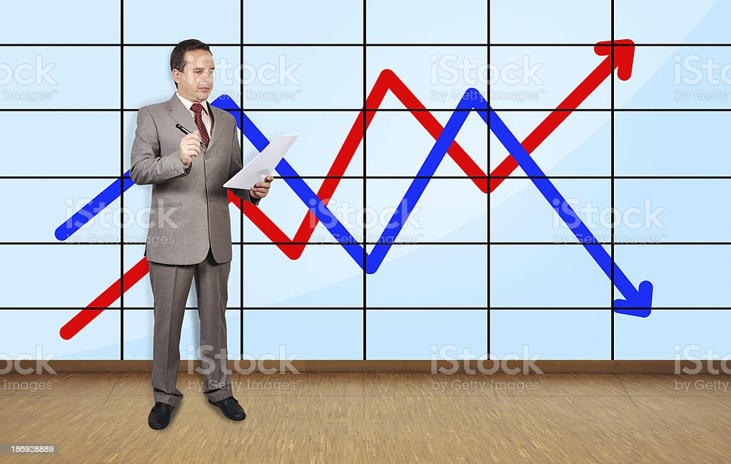 businessman in office and char royalty-free stock photo