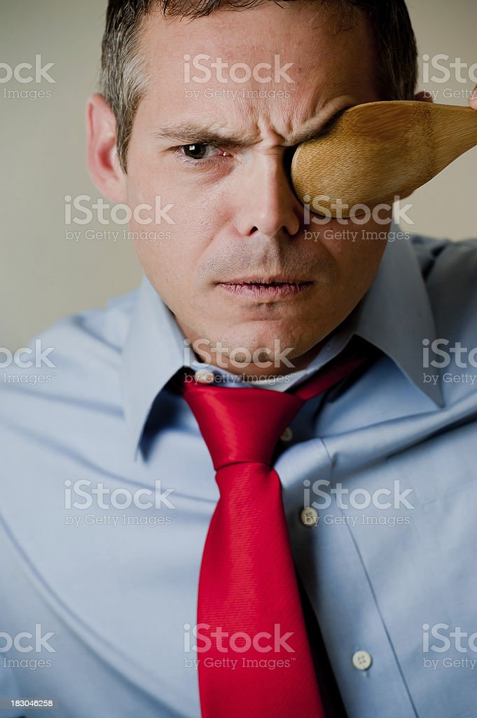 Businessman in power tie acting silly stock photo