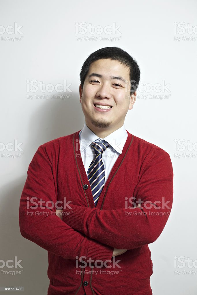 Businessman in red cardigan royalty-free stock photo