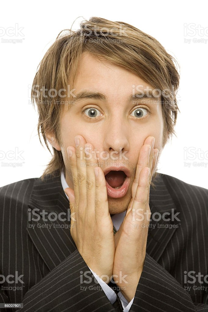 Businessman in shock royalty-free stock photo
