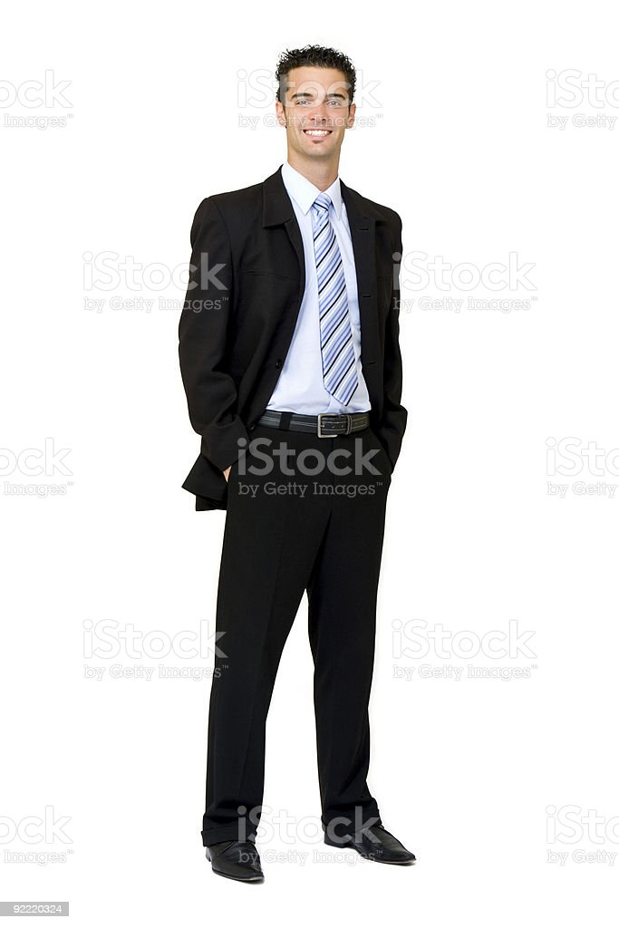 businessman in studio isolated on white royalty-free stock photo