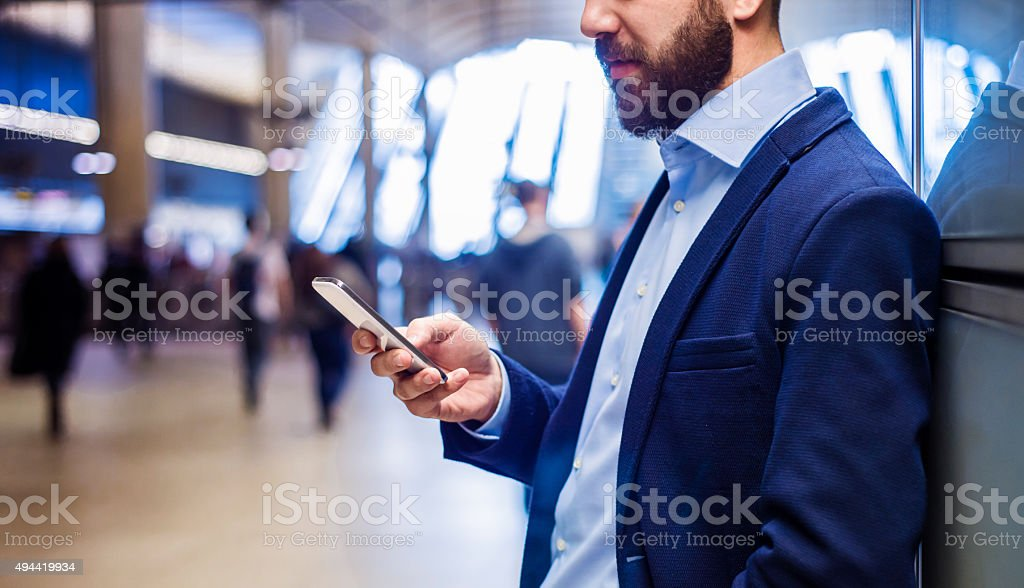 Businessman in subway stock photo