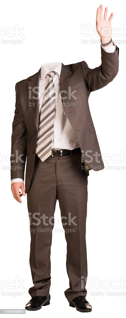 Businessman in suit without head, raised his hand up. Isolated stock photo