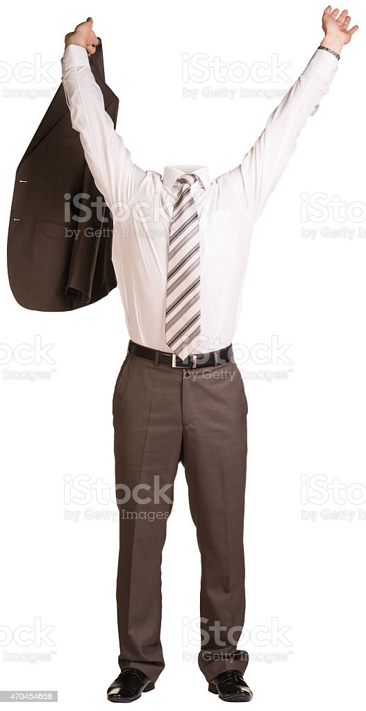 Businessman in suit without head, took off jacket and his stock photo