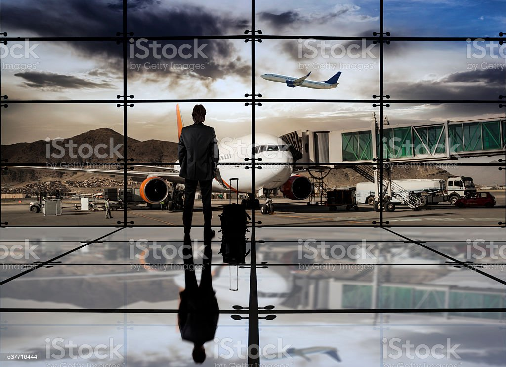 Businessman in the airport stock photo
