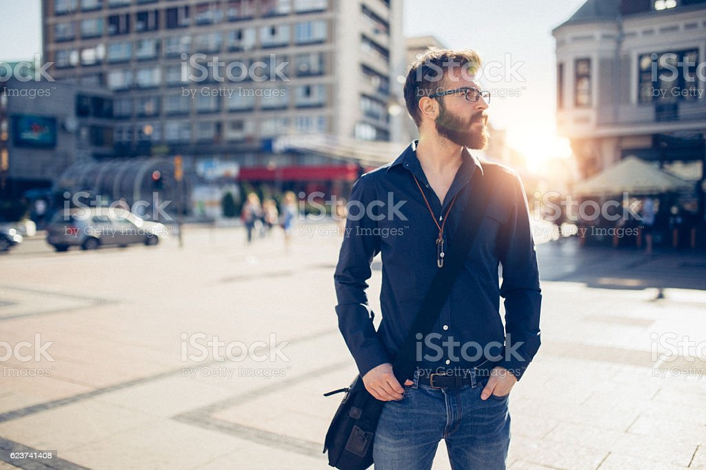Businessman in the city stock photo