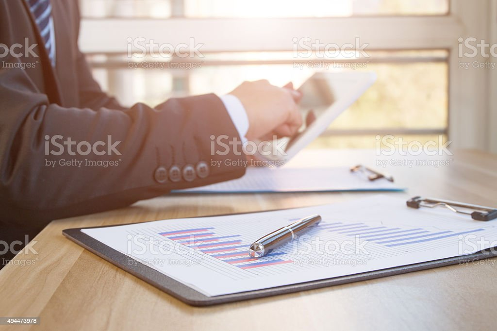 Businessman in the office work stock photo
