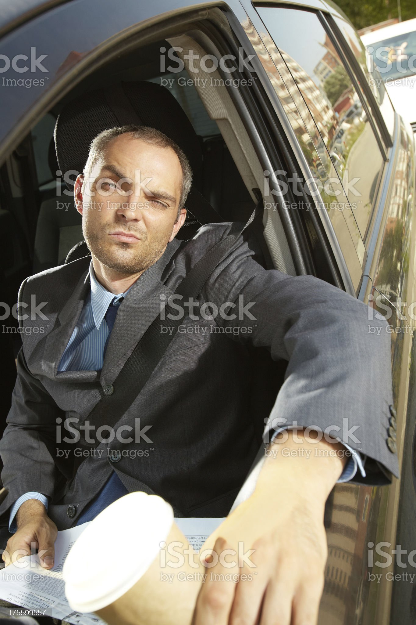 Businessman in traffic jam royalty-free stock photo