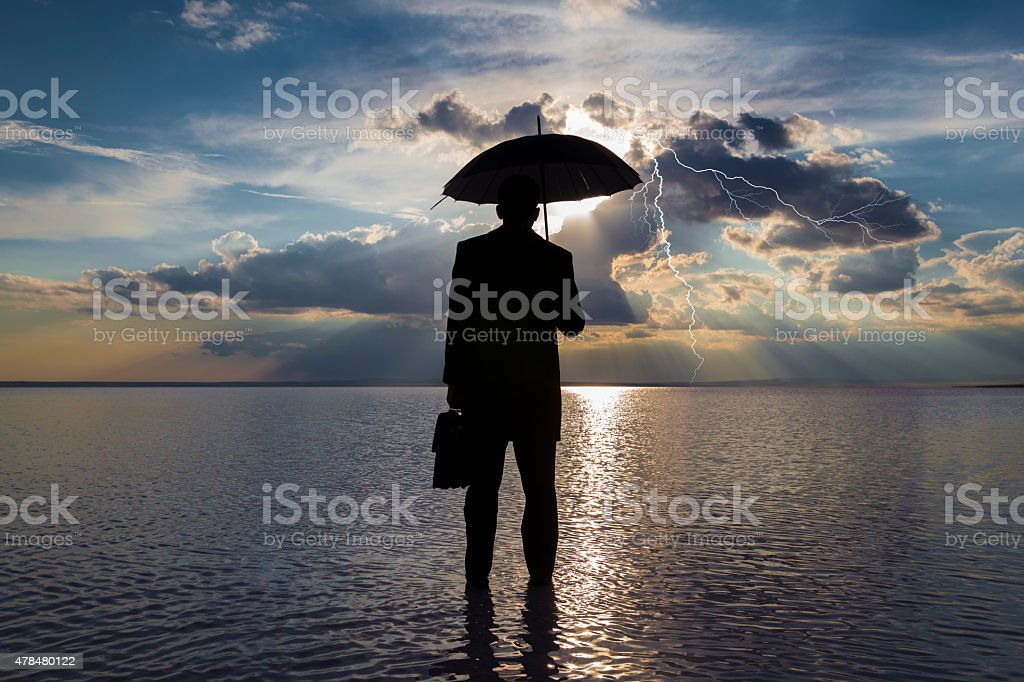 Businessman in trouble concept stock photo