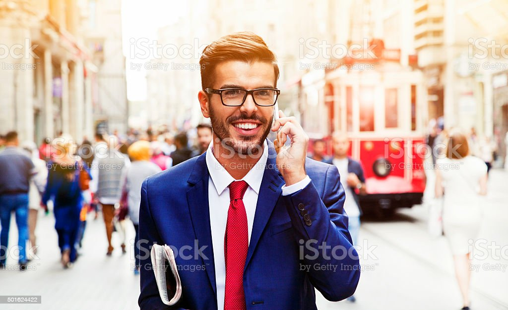 Businessman in Turkey Talking on the Phone. stock photo