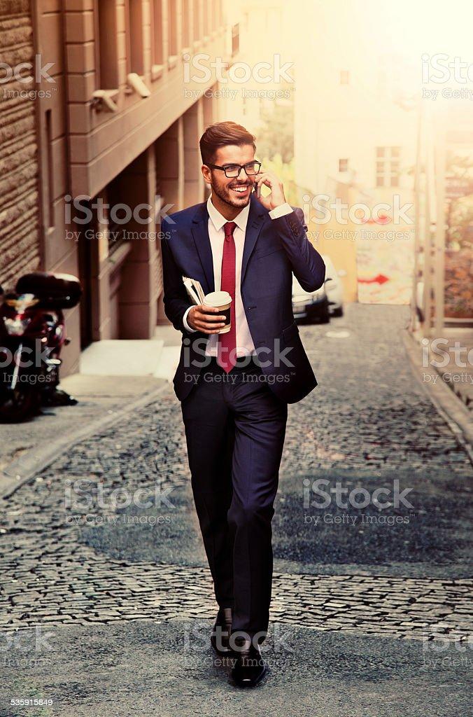 Businessman in Turkey Talking on the Phone stock photo