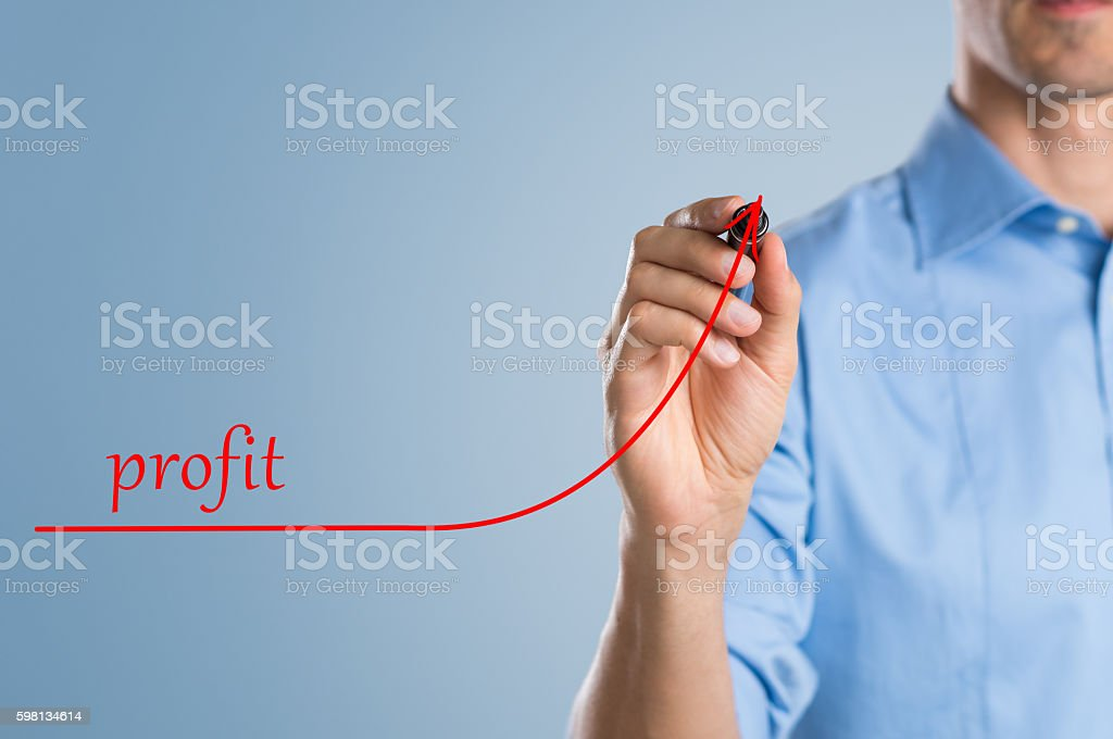 Businessman increasing profit stock photo