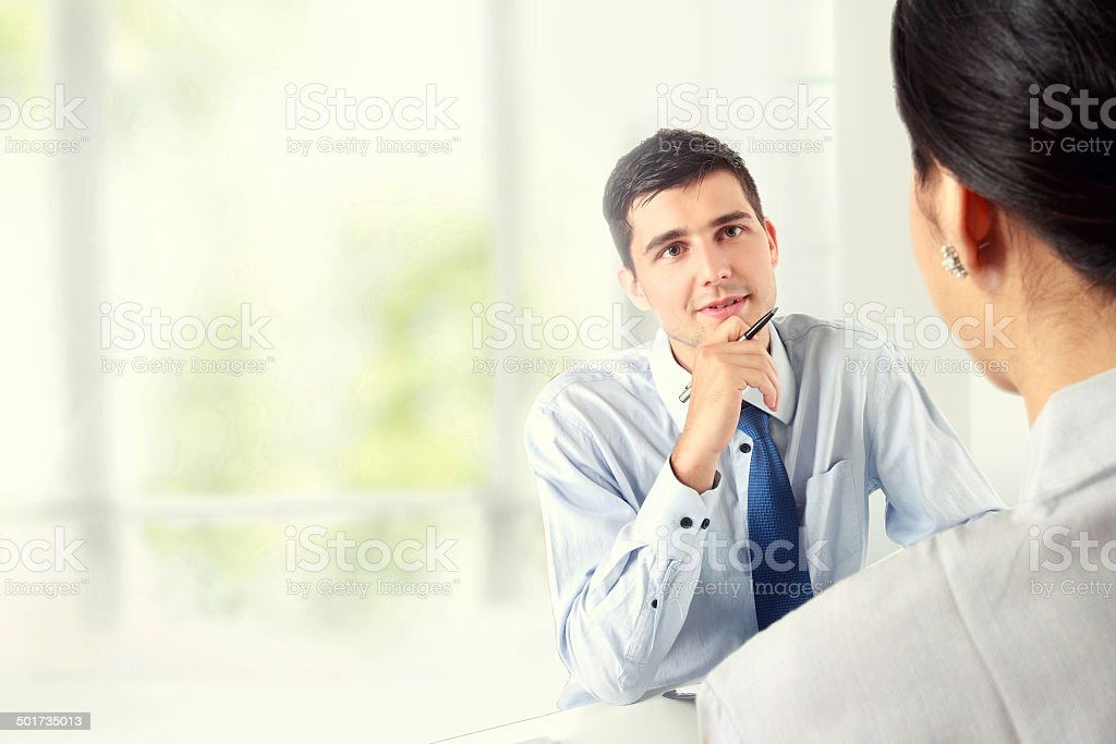 businessman interviewing stock photo