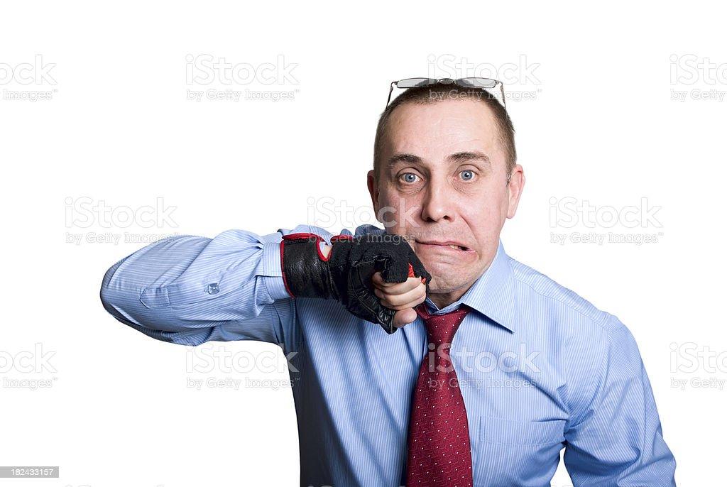 Businessman intimidates opponents stock photo
