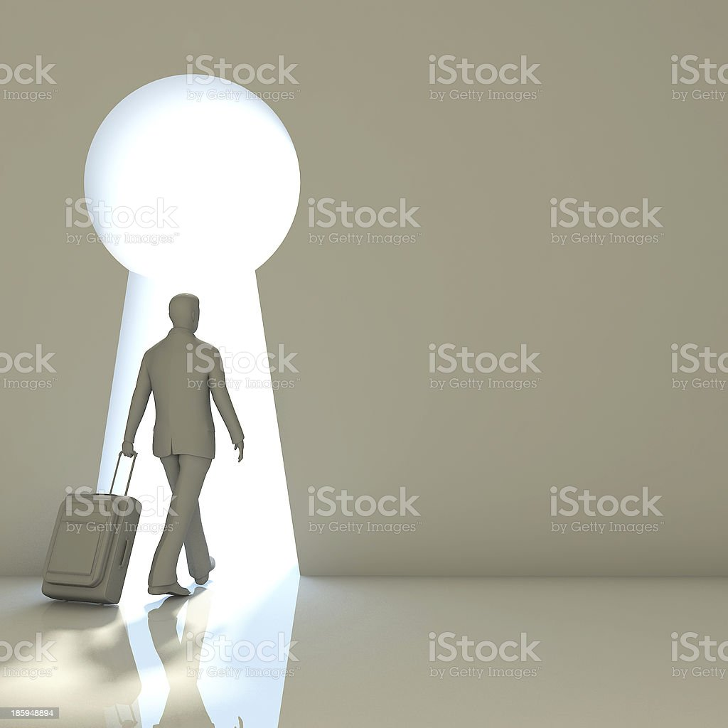 Businessman into gate shaped like a keyhole royalty-free stock photo